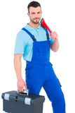 Repairman with toolbox and monkey wrench Stock Photos