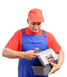 Repairman with toolbox and wrench Royalty Free Stock Photo