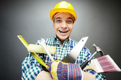 Repairman with tools Royalty Free Stock Photography