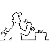 Repairman with tools. Black line art illustration of a repairman with tools and toolbox Royalty Free Stock Photography