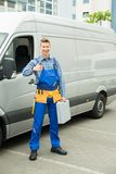 Repairman With Tools And Toolbox Showing Thumb Up Sign Royalty Free Stock Photography