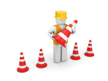 Repairman with traffic cones Stock Image