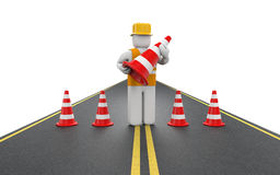 Repairman with traffic cones Royalty Free Stock Images