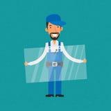 Repairman trzyma szklanym i uśmiechniętym royalty ilustracja