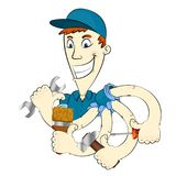 The repairman with different tools Royalty Free Stock Image