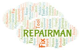 Repairman word cloud. Wordcloud made with text only stock illustration