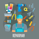 Repairman worker with work tools vector poster Royalty Free Stock Photo