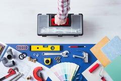 Repairman z toolbox domu usługa Zdjęcie Stock