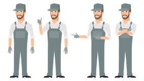 Repairmanen som pekar i olikt, poserar royaltyfri illustrationer