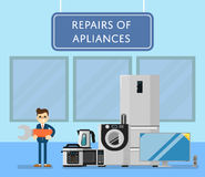 Repairs of appliances banner with electro technics Stock Photo