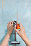 Repairs in bathroom, close-up hands tighten holder for sho Stock Photo