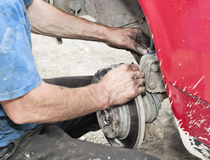 Repairs a brake Stock Images