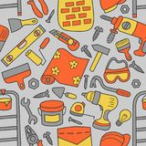 Repairs. Building tools. Seamless pattern in doodle and cartoon style. Color. Vector. EPS 8 Stock Image