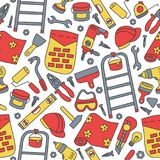 Repairs. Building tools. Seamless pattern in doodle and cartoon style. Color. Vector. EPS 8 Royalty Free Stock Images