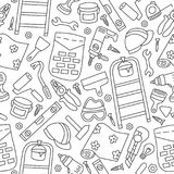 Repairs. Building tools. Seamless pattern in doodle and cartoon style. Outline. Vector. EPS 8 Royalty Free Stock Photo