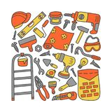 Repairs. Building tools. Set of elements in doodle and cartoon style. Color. Vector. EPS 8 Stock Photos