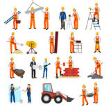Repairs Construction Builder Set. Flat design repairs construction process builders and equipment set isolated on white background vector illustration Stock Photography