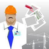 Repairs, Construction builder in yellow helmet working with different tools. Engineer. Worker. Flat design  illustration. Stock Image