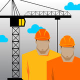 Repairs, Construction builder in yellow helmet working with different tools. Engineer. Worker. Flat design  illustration. Royalty Free Stock Image