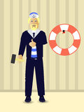 Repairs. Hang the life ring. Marine theme Stock Images