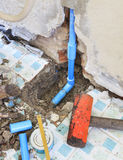 Repairs of home clean water plumbing tube Royalty Free Stock Images