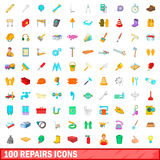 100 repairs icons set, cartoon style. 100 repairs icons set in cartoon style for any design vector illustration Royalty Free Stock Photography