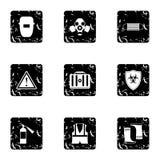 Repairs icons set, grunge style. Repairs icons set. Grunge illustration of 9 repairs vector icons for web Stock Photos