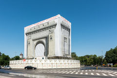 Repairs Of The Romanian Triumphal Arch Stock Photo