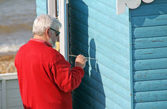Repairs to beach hut Stock Photography