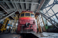 Repairs Trains On The Railway Plant Royalty Free Stock Photo