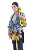 Repairwoman. Stock image of repairwoman isolated on white background Royalty Free Stock Image