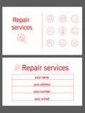 Reparación blanca y roja de la tarjeta de visita Imagen de archivo