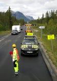 Reparación de caminos en montañas de Noruega Fotos de archivo libres de regalías