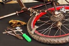 Reparación de la bicicleta. Foto de archivo libre de regalías