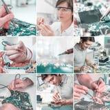 Reparación de la electrónica - trabajadores y manos, sistema de la imagen fotos de archivo libres de regalías