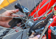Reparación de una bicicleta Fotografía de archivo