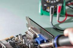 Reparación del ordenador, tarjeta de vídeo Foto de archivo