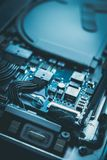 Reparación del ordenador y diseño azul de la unidad de disco duro del mantenimiento fotografía de archivo libre de regalías