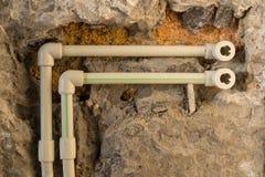 Reparación del sistema de abastecimiento del agua Fotos de archivo libres de regalías