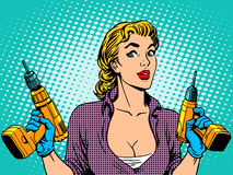 Reparación del taladro del trabajador de la muchacha libre illustration