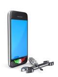 Reparación del teléfono en el fondo blanco. 3D aislado ilustración del vector