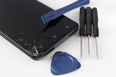 Reparación quebrada del teléfono móvil imagen de archivo