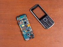 Reparación rota desmontada del teléfono celular Imagen de archivo