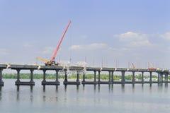 Reparación y construcción del puente Imágenes de archivo libres de regalías