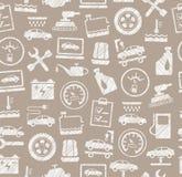 Reparación y mantenimiento, modelo inconsútil, gris, blanco, lápiz que trama, vector del coche Imagenes de archivo