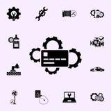 Reparaci?n de la tarjeta de banco, icono de los engranajes Repare el sistema universal de los iconos para el web y el m?vil stock de ilustración