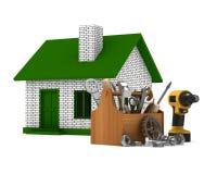 Reparación de la casa en el fondo blanco Imagen de archivo libre de regalías