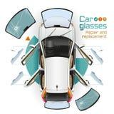 Reparación y reemplazo de los vidrios del coche Imagen de archivo libre de regalías