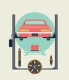 Reparaciones del coche en la gasolinera en la elevación Ilustración del vector Imagenes de archivo
