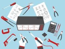 Reparaciones electrónicas planas Foto de archivo